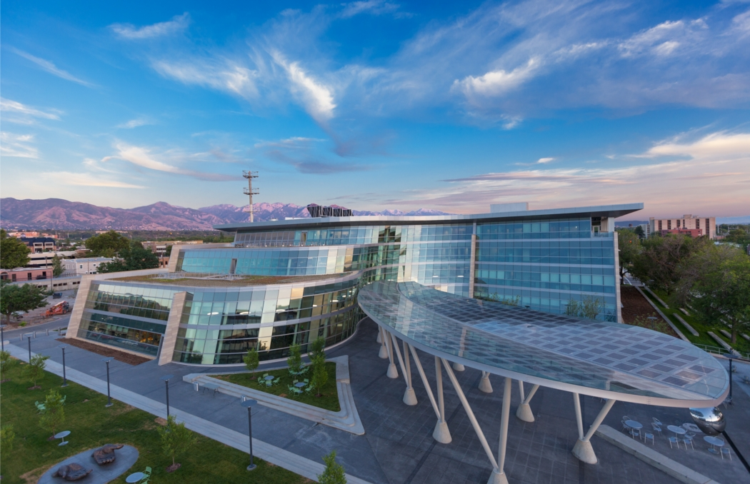 Aerial view of the Salt Lake City Public Safety Building. The building has 380 kW of PV modules on the roof and canopy. Photo by Dana Sohm | Sohm Photografx, courtesy of GSBS Architects