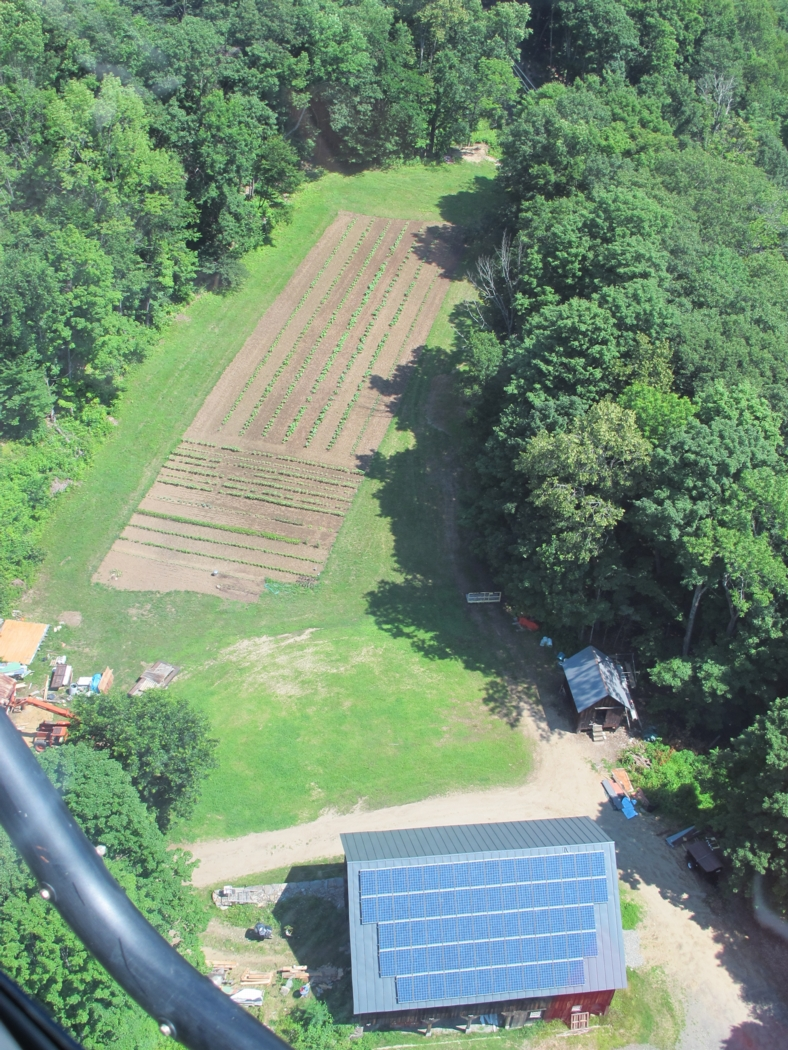 View of our barn and lower garden from above—from a helicopter ride I happened to get a few weeks ago!