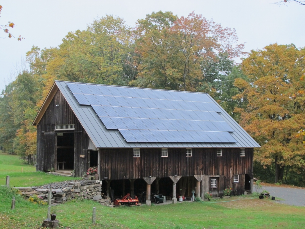 Our barn in October with an 18 kW group-net-metered solar array