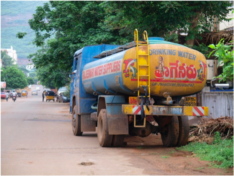 A private tanker supplying potable water in Visakhapatnam. Photo: Reuters