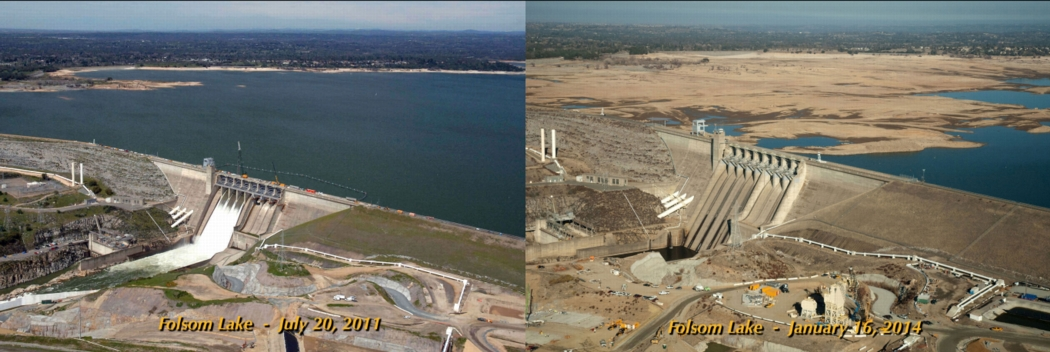 California's Folsom Lake shown in July 2011 and January 2014. The reservoir now stands at just 29% of capacity. Photos: California Department of Water Resources.
