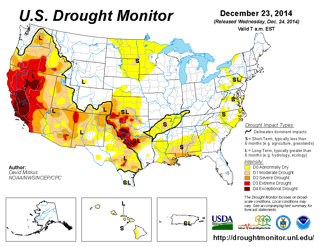 U.S. Drought Monitor for December 23, 2014. Despite several weeks of rain in California, drought is still a huge concern. Image: National Drought Mitigation Center, University of Nebraska - Lincoln