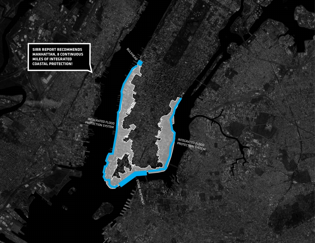 Areas of flood risk in Lower Manhattan. Image: the BIG Team's HUD proposal