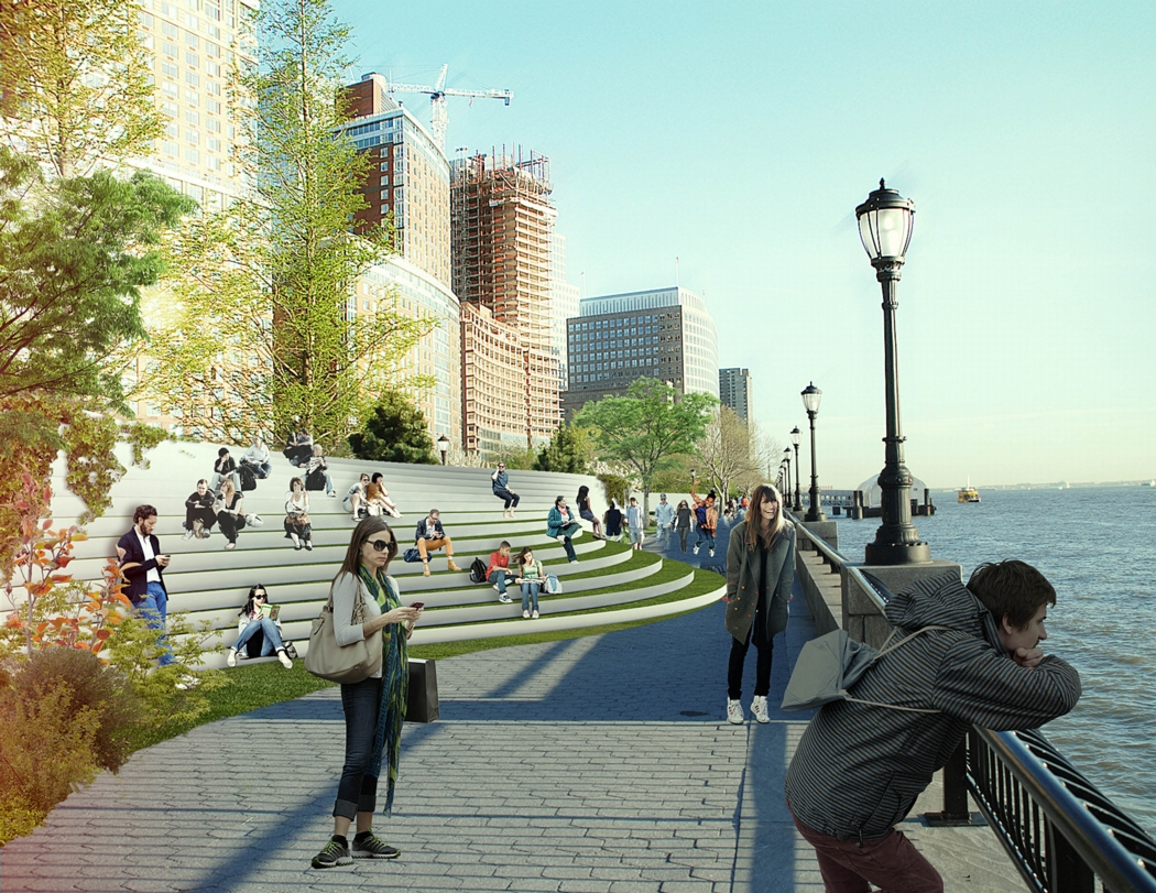Rendering that shows landscape features that serve as a protective berm along the Manhattan shoreline. Image: the BIG Team