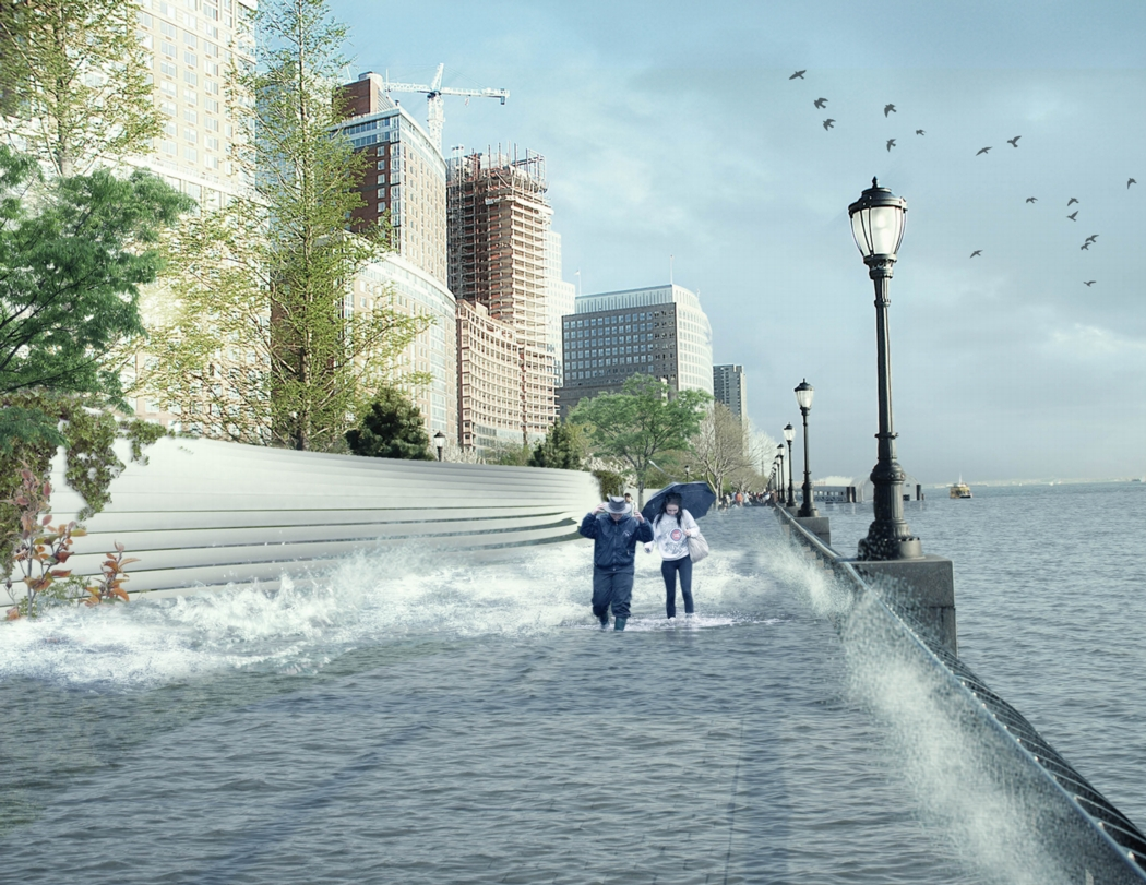 The same view showing the berm protecting the City from flooding. Image: the BIG Team