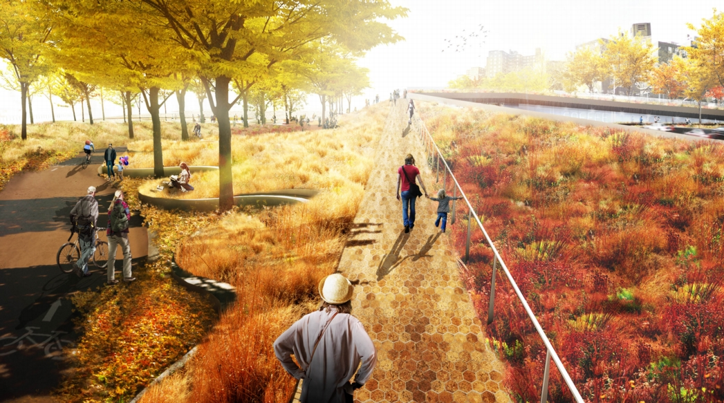 The proposed Bridging Berm on the Lower East Side, showing landscaped berms used for recreation. Image: the BIG Team