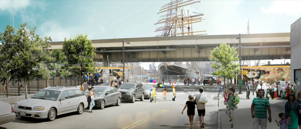 At South Street, flood gates are proposed that will maintain views to the water. Image: the BIG Team