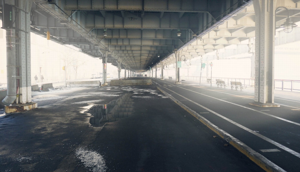 An existing view under FDR Drive in the Two Bridges area on the Lower East Side. Photo: the BIG Team