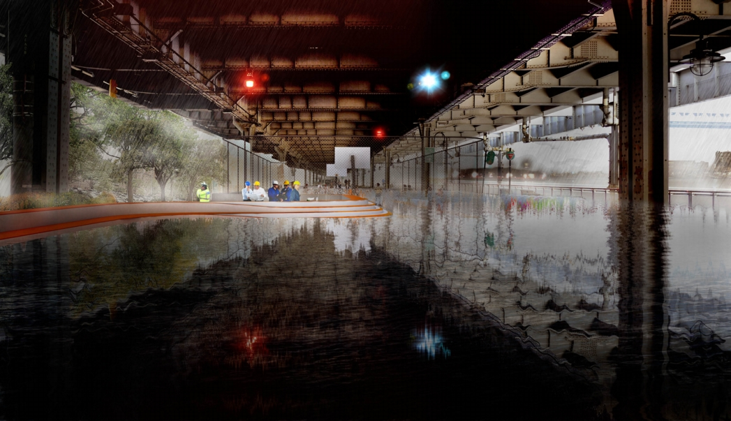 The bench extending along FDR Drive protects against moderate flooding. Image: the BIG Team