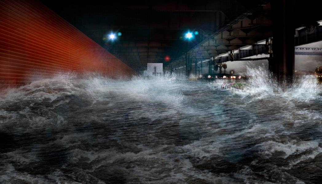 With extreme flooding, hinge-down flood barriers that are normally stored on the underside of FDR Drive are deployed for protection. Image: the BIG Team