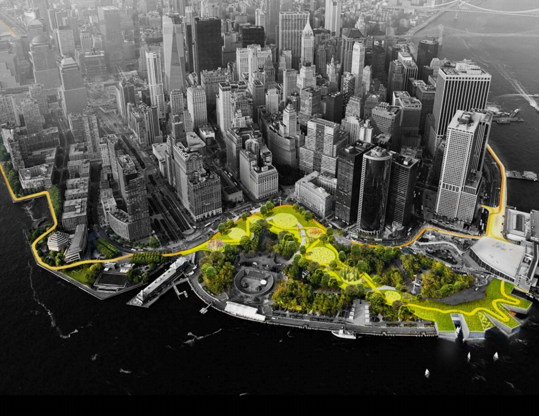 Lower Manhattan showing a protective berm and barriers along the coastline, wrapping around The Battery. Image from the BIG Team's HUD proposal.