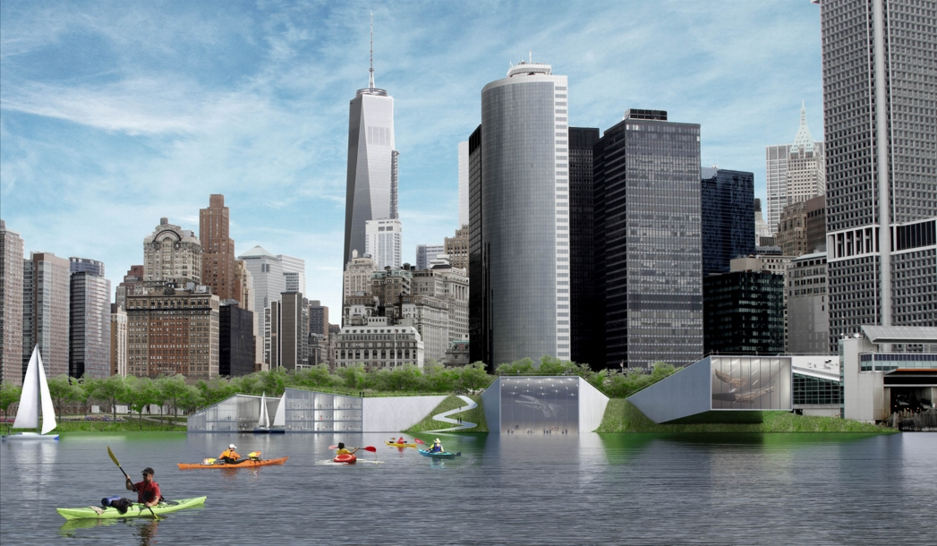 "At the southern tip of Manhattan, the Coast Guard building would be replaced with a maritime or natural history museum that provides part of the flood-protection scheme. Included is a unique ""reverse aquarium."" Image: the BIG Team"