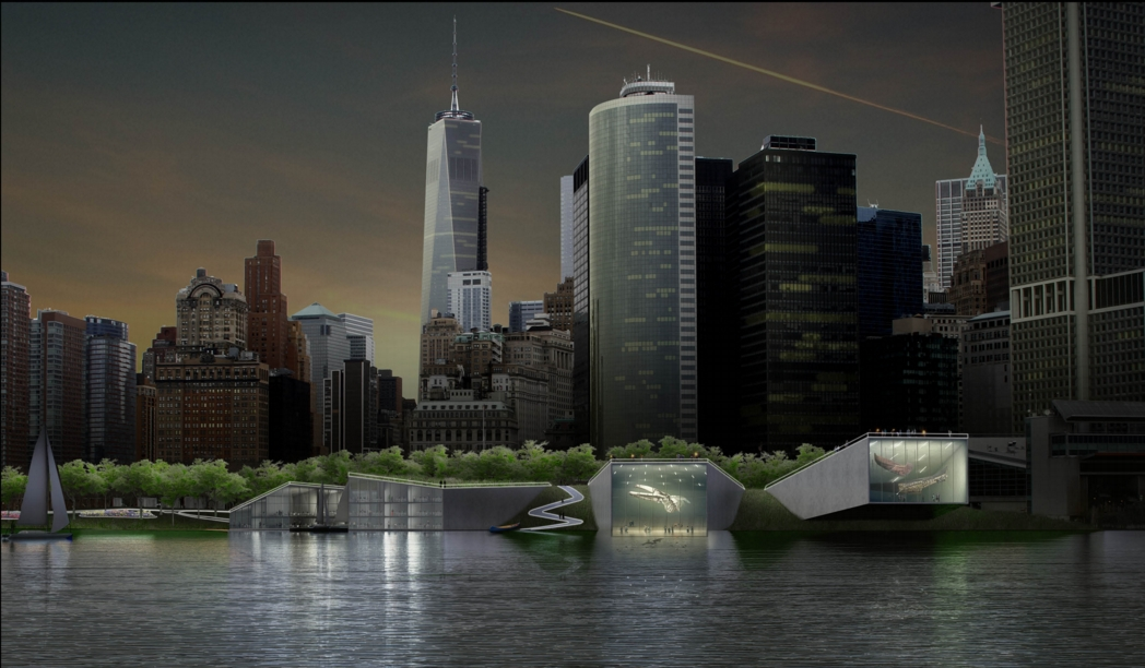 The same view of the Harbor Berm at night, showing the public spaces being used. Image: the BIG Team