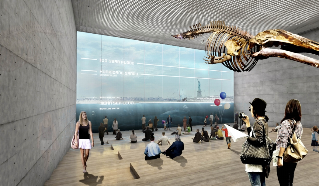"A view from inside the museum, showing the ""reverse aquarium,"" through which visitors can see the harbor and learn about impacts of rising sea levels. Image: the BIG Team"