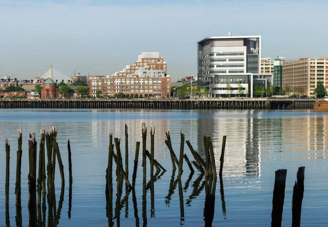 Spaulding Rehab is on the water where the Little Mystic Channel meets the Inner Boston Harbor. Many of the hospital's resilience features were implemented in response to flooding risk. Photo: Steinkamp Photography, courtesy Partners Healthcare.