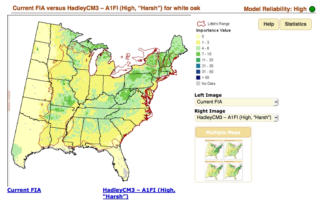 This map shows the expected range of white oak assuming the Hadley CH3 climate model (one of several included in this online tool). Image: Northeast Research Station of the National Forest Service