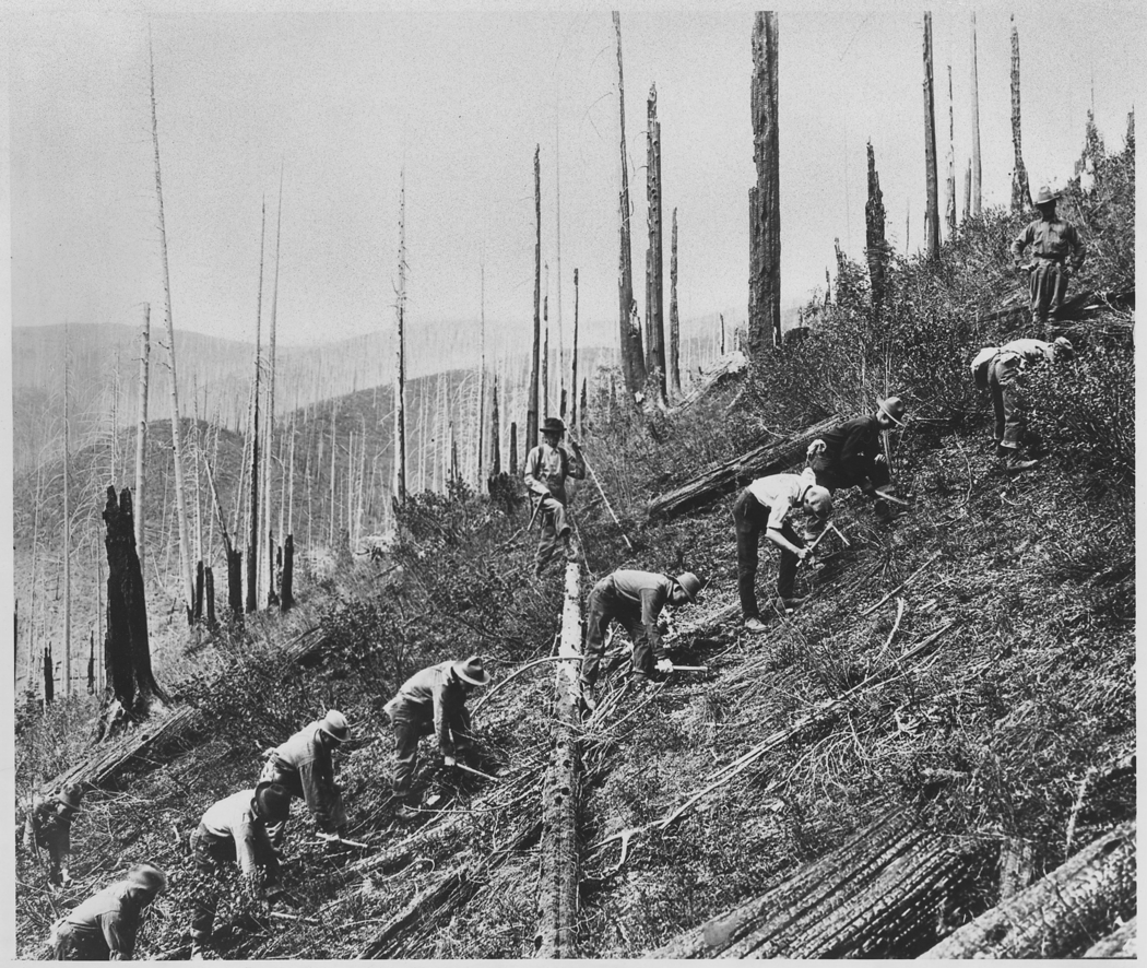 Civilian Conservation Corps workers in the Saint Joe Natoinal Forest in Idaho. Photo: FPG/Hulton Archive