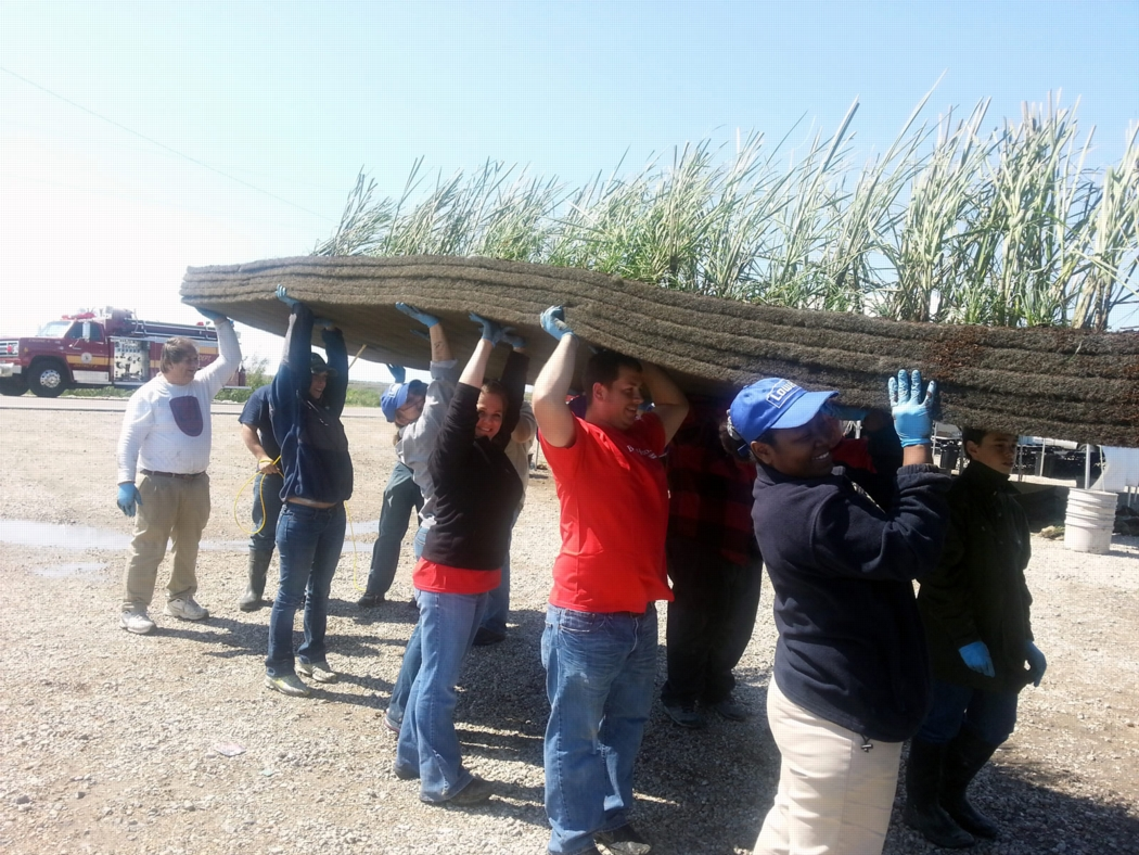 Volunteers in Pointe aux Chenes, Louisiana involved with wetlands restoration through the Lowes Heroes Program. Photo: Lowes