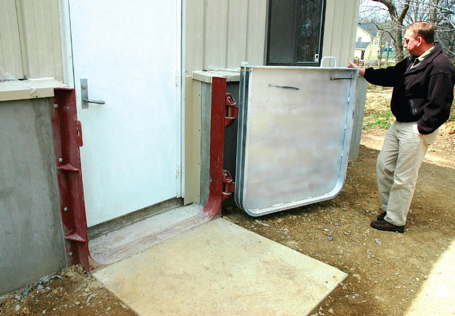 Dry floodproofing barrier at a Delaware machine company. Photo: FEMA P-936 - Floodproofing Non-Residential Buildings