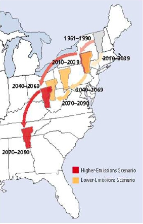This map shows how Vermont's climate is expected to effectively move south by the end of 2100 under two different emissions scenarios. In the worst-case model, our climate will be much like that of northwestern Georgia. Graphic by Alan Betts.