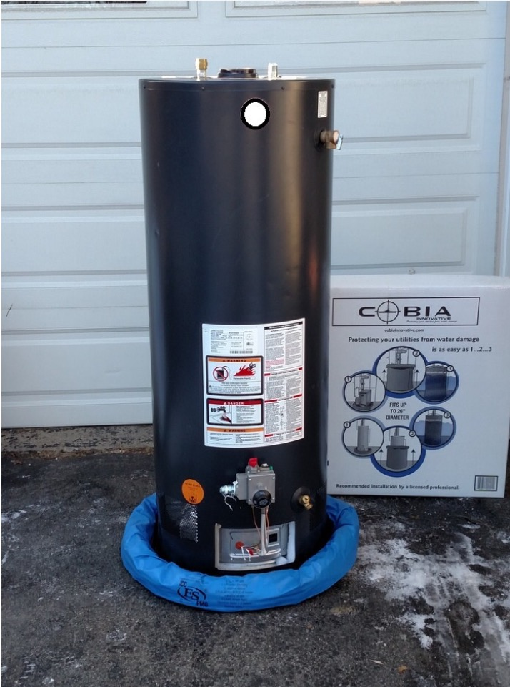 A water heater sitting on the flood cover base with the sides rolled up at the base of the water heater. Photo: Cobia Innovative.