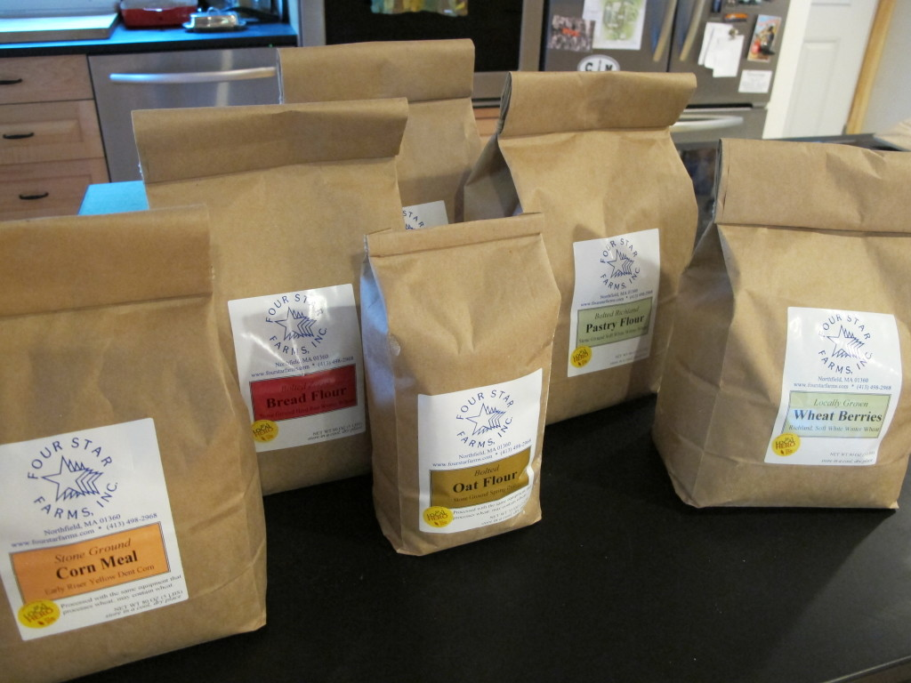 A selection of flours, wheat berries, and cornmeal that we picked up at Four Star Farms in Northfield, MA, just south of Brattleboro. Photo: Alex Wilson