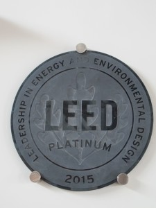 The LEED Platinum plaque on the wall at the Brock Center. Living Building Challenge certification awaits the completion of a full year of operation. Photo: Alex Wilson