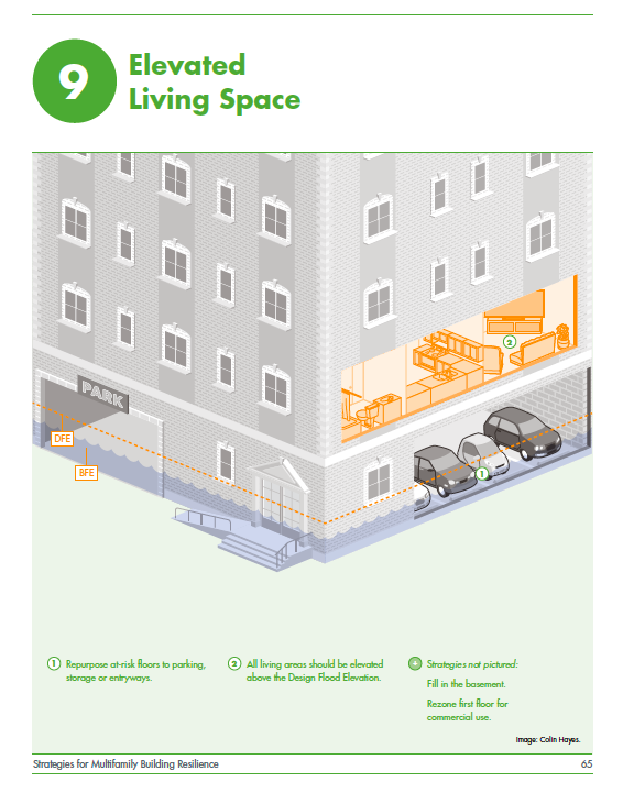 Elevating the living space in a multifamily building is one of the resilience strategies covered in the manual.