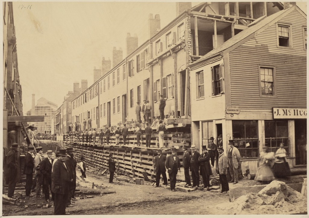 The Church Street District of Boston, including 296 brick buildings, was elevated by about 14 feet in 1868, completing the work in less than a year-and-a-half. Photo: Boston Public Library