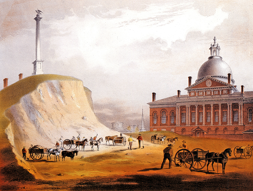 A pencil and watercolor sketch from 1811 showing the removal of fill from Beacon Hill by the State House. From the Boston Athenaeum