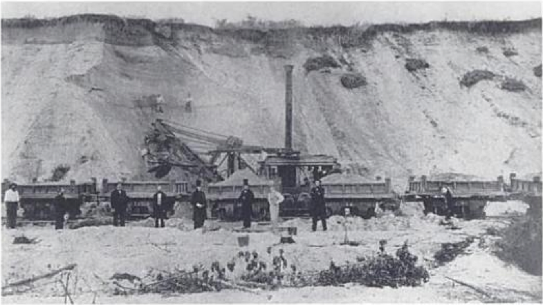 A gravel train in Needham, MA from the 1860s. Source: BostonGeology.com