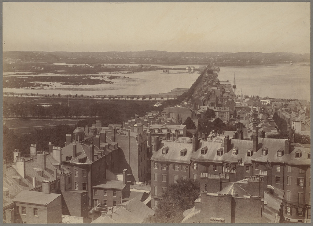 A view from the State House of Back Bay in 1858. Boston Public Library