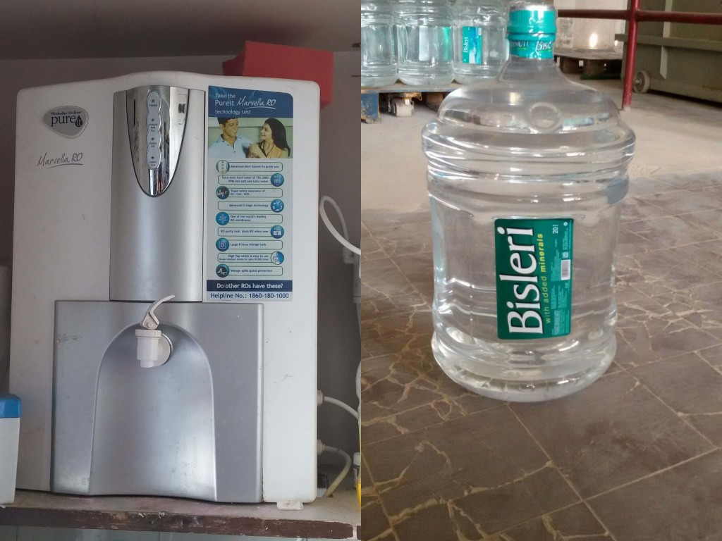 Reverse osmosis (RO) water purifier (left) and 5-gallon (20-liter) water bottle (right). The bottled water costs about $1 as long as the used bottle is exchanged for a new one. Photo: Ramana Koti.