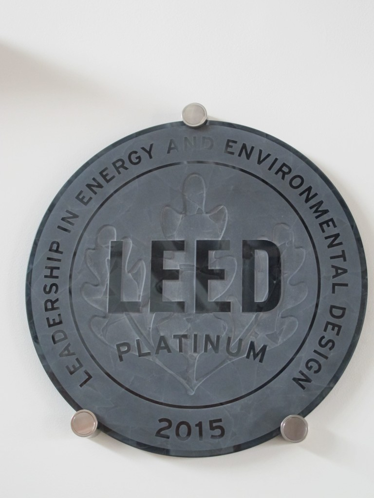 The LEED Platinum plaque at the Brock Environmental Center in Virginia Beach. While the project preceded the pilot credits on Resilient Design, it would have been able to meet the credits without too much difficulty. Photo: Alex Wilson